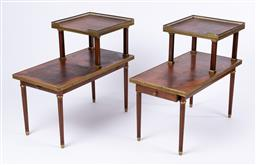 Sale 9135H - Lot 68 - An elegant pair of mahogany two height brass mounted side tables with pull out drawers to both pieces. 63Cm Height x  70Cm Width x...