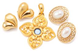 Sale 9149 - Lot 552 - TWO PAIRS OF GIVENCHY EARRINGS AND LANVIN PENDANT; oval stud earrings set with faux pearls, length 34mm, heart shape polished and br...