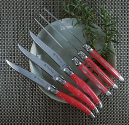 Sale 9217L - Lot 11 - 6-Piece Steak Knife Set in Lidded Box - Marbled Red - Laguiole Luxe by Louis Thiers