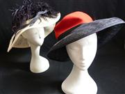 Sale 7982B - Lot 67 - Two hats; Neil Rigg (cream and black), Herald and Heart Hatters (red)