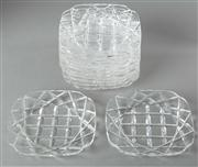 Sale 8444A - Lot 66 - A set of twelve quality Art Deco hand cut lead crystal dessert or cheese plates, c1940, D 14cm