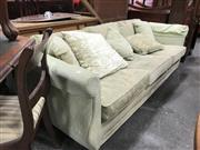 Sale 8834 - Lot 1099 - Green Fabric Upholstered Three Seater Lounge with Cushions