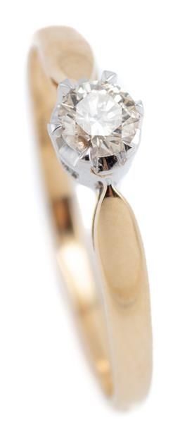 Sale 9164J - Lot 476 - AN 18CT GOLD SOLITAIRE DIAMOND RING; claw set with a round brilliant cut diamond of approx. 0.20ct, P, size M, wt. 1.80g.