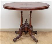 Sale 9058H - Lot 19 - A Victorian mahogany carved oval loo table on birdcage base, Height 73cm x Width 92cm x Depth 57cm