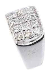 Sale 9066A - Lot 5 - AN 18CT WHITE GOLD GENTS DIAMOND RING; featuring an 11 x 11mm chequerboard top set with 12 round brilliant cut diamonds totalling a...