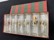 Sale 9092 - Lot 1070 - Boxed set of mid century modern kitsch tumblers with bull fighting decals (h:16cm)