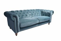 Sale 9180F - Lot 2 - A 3 seat Chesterfield in  velvet azure with brass stud detailing. (W 215cm x D 85cm H 77cm)