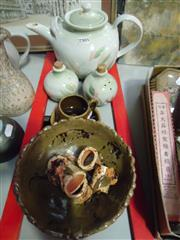 Sale 7982 - Lot 66 - Bens Stoneware Teapot, Salt and Peppers with other Australian Pottery