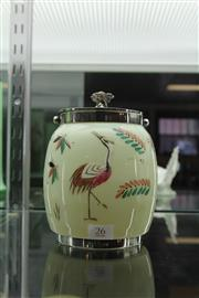 Sale 7989 - Lot 26 - Glass and EP Biscuit Barrel with Hand Painted Bird Design