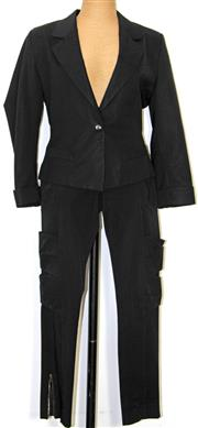 Sale 8173F - Lot 312 - COUNTRY ROAD BLACK BLAZER AND CUE BLACK PANTS; jacket with turn up cuffs (10), pants with zippers to ankles (8).