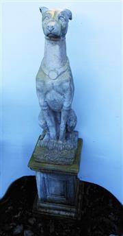Sale 8256A - Lot 4 - A vintage composition stone figure of a seated greyhound dog on stand. Some age wear to dogs head etc. Overall Ht: 125 cm. Dog Ht: 7...