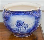 Sale 8338A - Lot 114 - An English jardiniere with blue transfer scenes of highland cattle, H 24cm
