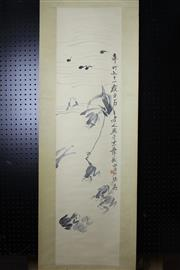 Sale 8393 - Lot 78 - Chinese Scroll; Frog & Tadpole Depiction on Pale Yellow Mounting; Signed