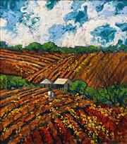 Sale 8575 - Lot 510 - Colleen M Parker (1944 - 2008) - Working the Vines, Barossa Valley 45 x 39.5cm