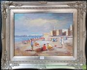 Sale 8609 - Lot 2037 - S. Hansen - Beach Scene, acrylic on canvas, 44 x 55cm (frame), signed lower right