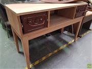Sale 8637 - Lot 1076 - Timber Hall Table with Two Metal Drawers