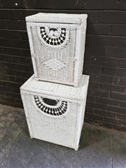 Sale 8979 - Lot 1081A - Pair of Graduated Wicker Hampers (Largest (H:69 W:53 D:38cm)