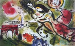 Sale 9150A - Lot 5047 - MARC CHAGALL (1887 - 1985) Romeo & Juliet offset lithograph, edition of 300 56 x 89.5 cm (frame: 75 x 111 x 3 cm) facsimile signed