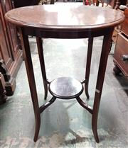 Sale 8993 - Lot 1075 - 1920s Inlaid Mahogany Occasional Table, with round top, splayed legs & lower shelf