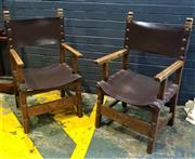 Sale 9017 - Lot 1066 - Pair of Spanish Style Timber Framed Armchairs with Studded Leather Back and Seat