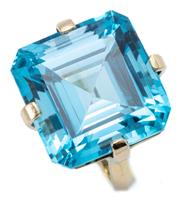 Sale 9066A - Lot 33 - A LARGE TOPAZ COCKTAIL RING; set in 18ct gold with a square emerald cut blue topaz of approx. 33.25ct, top 18 x 18mm, size N1/2, wt....