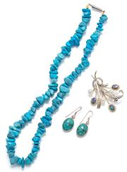 Sale 9090J - Lot 334 - THREE ITEMS OF TURQUOISE PEARL AND OPAL JEWELERY; freeform turquoise beads to a screw barrel clasp, length 42cm, pair 14 x 10mm cabo...