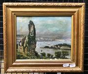 Sale 9072 - Lot 2012 - Artist Unknown, Plymouth from Mount Edgecombe, oil on canvas (AF), frame: 28 x 34 cm, initialled J.W lower left -