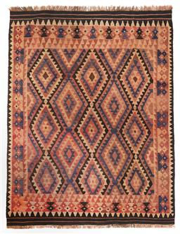 Sale 9123J - Lot 185 - A vintage Kilim rug, the diamond pattern within the central panel surrounded by a repeating geometric border over a blush coloured g...