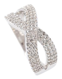 Sale 9164J - Lot 481 - A SILVER TOPAZ RING; infinity cross design set with round cut white topaz, size M1/2, wt. 3g, width 8.7mm.