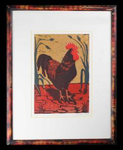 Sale 7923 - Lot 563 - Anita Laurence - Evening Rooster 30 x 20.5cm