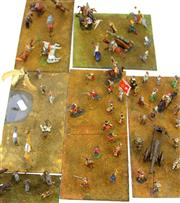Sale 8330T - Lot 85 - Six Battlefield Boards of Lead Soldiers; handpainted