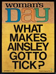 Sale 8800 - Lot 176 - Two framed magazine covers, including Woman's Day and Prime Time, on Ainsley Gotto