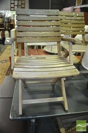 Sale 8337 - Lot 1079 - Set of 6 Folding Timber Outdoor Chairs