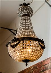 Sale 8420A - Lot 6 - A stunning French style bronze beaded Empire chandelier, a beautiful handmade rendition of the 1920s versions, re-wired to Australi...