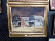 Sale 8699 - Lot 2055 - Clarrie Cox - Abandoned Homestead acrylic on canvas, 55 x 47cm, signed lower left