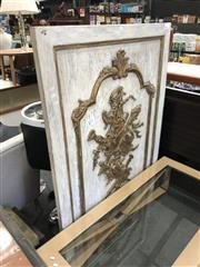 Sale 8801 - Lot 1588 - Louis XV Style Carved Wall Panel with Crest & Trophies