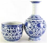 Sale 8980S - Lot 668 - A Blue and White Porcelain Vase (H 33cm) Together with Small Jardiniere (H14cm Dia 17cm)