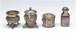 Sale 9093 - Lot 85 - Group of Chinese Export Silver Wares incl. Hung Chong Marked Tri-Footed Salt (H5cm)