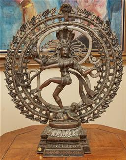 Sale 9097H - Lot 25 - A large metalwork of Shiva as Nataraja, surrounded by flaming aura, Height 60cm