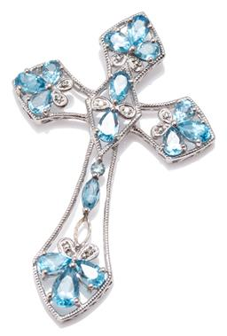 Sale 9164J - Lot 394 - A TOPAZ AND DIAMOND CRUCIFORM PENDANT; set in silver with pear, round and navette cut blue topaz and 2 single cut diamonds, size 48...