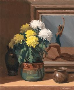 Sale 9244 - Lot 582 - DON GALLAGHER (1925 - 2017) CHRYSANTHEMUM, c1950s oil on board 60 x 49.5 cm (frame: 86 x 75 x 5 cm) signed lower right