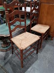 Sale 8717 - Lot 1027 - Pair of Rush Seat Dining Chairs