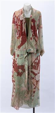 Sale 8910F - Lot 35 - A Kenzo, Paris sheer printed silk wrap jacket with belted waist tie, together with a matching full-length skirt, size 36