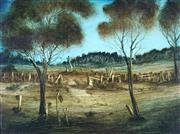 Sale 8870A - Lot 536 - Kevin Charles (Pro) Hart (1928 - 2006) - The Boundary Fence 41.5 x 59 cm