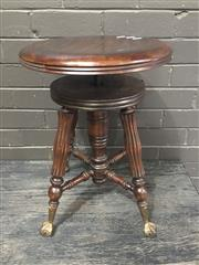 Sale 8967 - Lot 1091 - Timber Adjustable Piano Stool with Glass Ball Feet (H:53 x D:38cm)