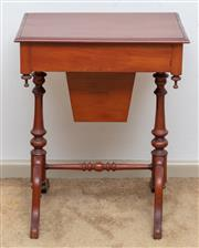 Sale 9058H - Lot 63 - A C19th style mahogany work/sewing table, the hinged lid revealing a fitted interior, Height 70cm x Width 56cm x Depth 42cm