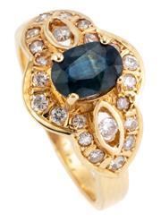 Sale 9066A - Lot 15 - AN 18CT GOLD SAPPHIRE AND DIAMOND RING; centring an approx. 1ct blue oval cut sapphire to surround and open shoulders set with 22 ro...