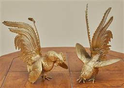 Sale 9097H - Lot 26 - A pair of gold tone Chinese Roosters (one with damage to leg) Height 23cm