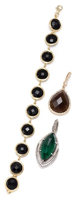 Sale 9156J - Lot 534 - TWO STONE SET PENDANTS AND BRACELET; 12mm wide silver gilt bracelet set with chequerboard round cut onyx to lobster claw clasp, leng...