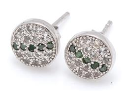 Sale 9164J - Lot 459 - A PAIR OF GREEN DIAMOND AND TOPAZ STUD EARRINGS; 8mm silver discs set with a line of round brilliant cut treated green diamonds to r...
